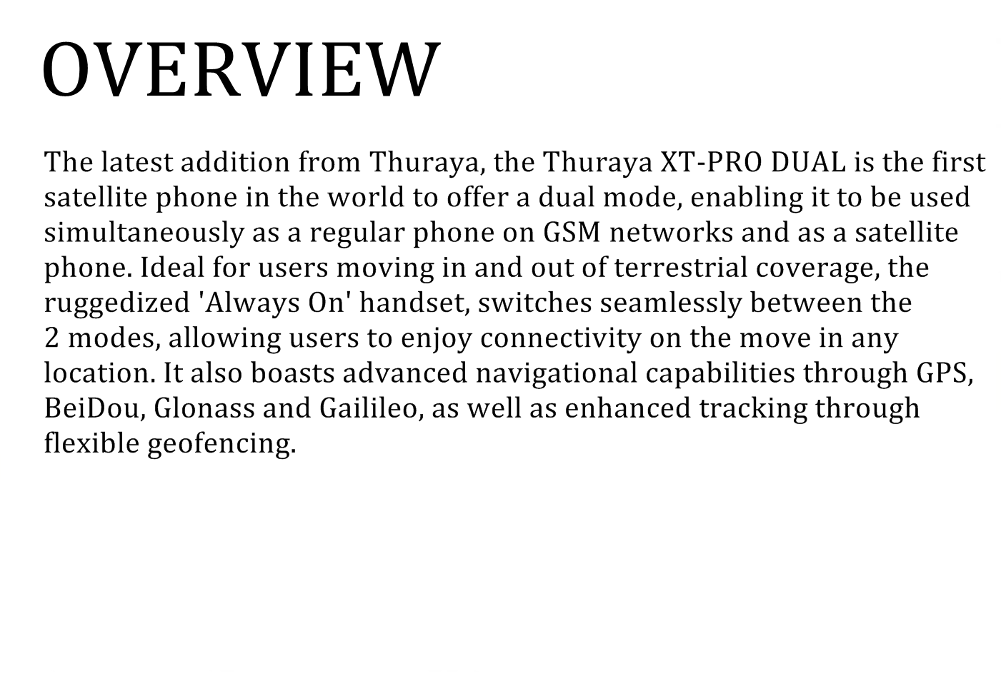 overview thuraya dual