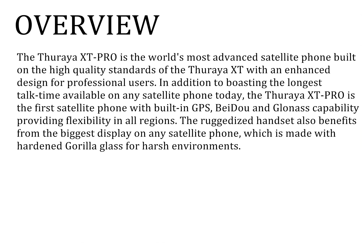 overview thuraya pro